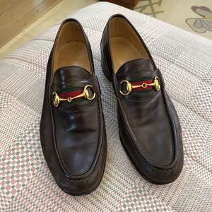 Vintage GUCCI Dark Brown Leather Horse Bit Loafer